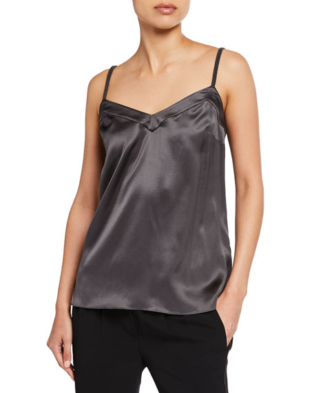 Brunello Cucinelli V-Neck Silk Cami with Monili Straps