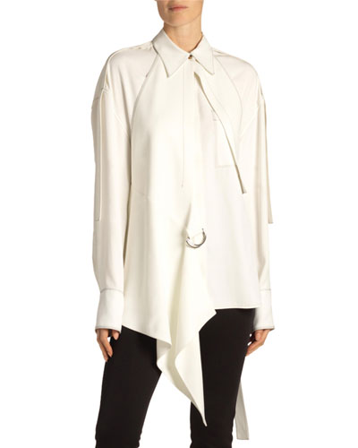 Oversized Button-Front Shirt with Removable Gilet