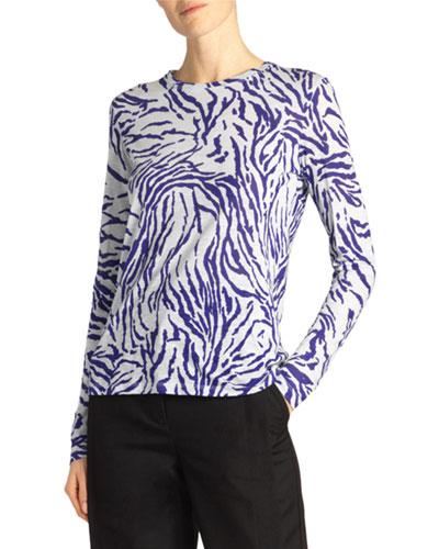 Long-Sleeve Zebra-Striped Crewneck Top
