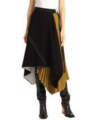 Proenza Schouler Asymmetric Pleated Matte-Crepe Skirt