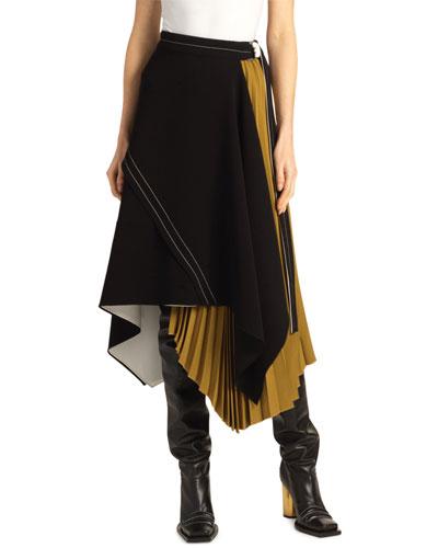 Asymmetric Pleated Matte-Crepe Skirt