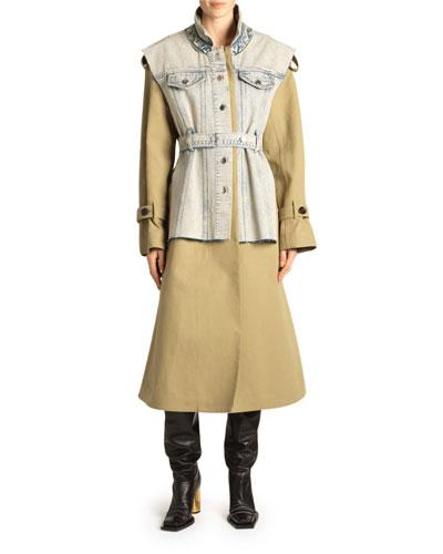 Denim Vested Trench Coat