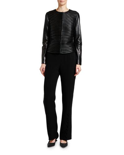 Leather & Velvet Fitted Short Jacket