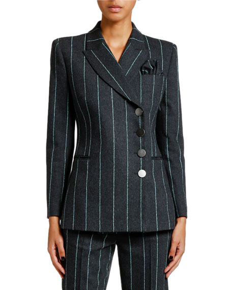 Giorgio Armani Pinstriped Flannel Double-Breasted Jacket
