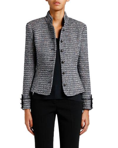 Metallic Tweed Military Jacket