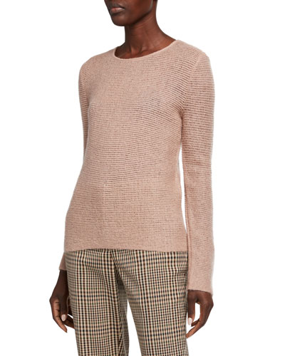 Mohair-Wool Sheer-Stitched Tunic Sweater, Rose