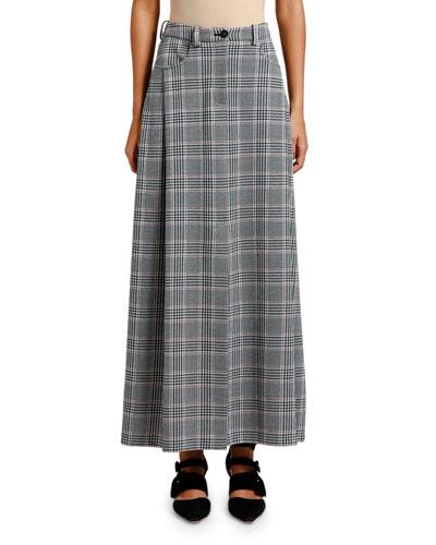 Glen Plaid Maxi Skirt