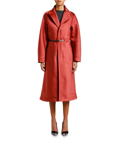 Stone Duchess Satin Topper Coat