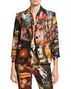 Libertine Memento Mori Mixed Media Two-Button Wool Blazer
