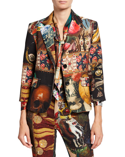 Memento Mori Mixed Media Two-Button Wool Blazer