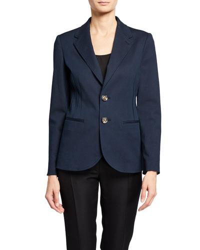 Two-Button Stretch-Denim Jacket w/ Seaming