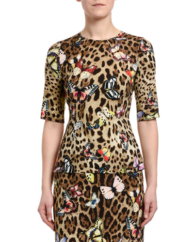 3/4-Sleeve Leopard & Butterfly-Print Charmeuse Top