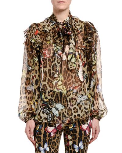 Leopard Butterfly-Print Chiffon Tie-Neck Blouse