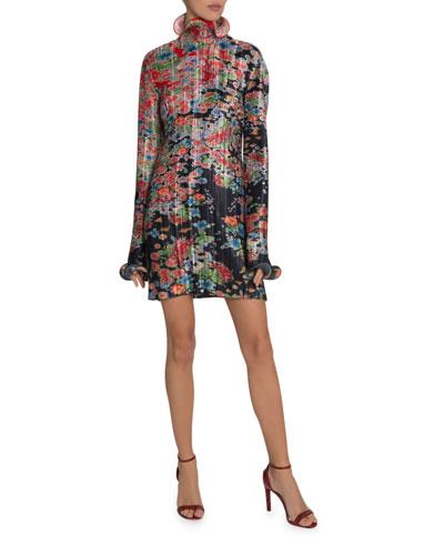Metallic Floral Plisse Dress