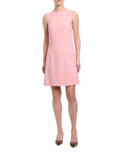 Sleeveless Jeweled Button-Back Cady Dress