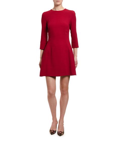 Dolce & Gabbana 3/4-Sleeve Jeweled Button-Back Dress