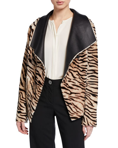 Safari Tiger-Striped Reversible Leather Cardigan