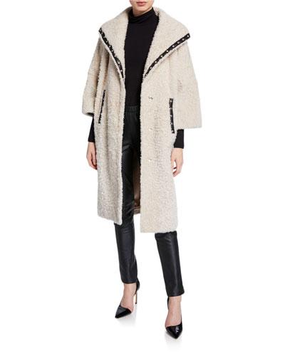 Suzie Leather-Trim Shearling Coat
