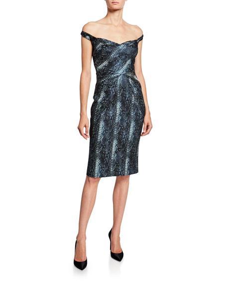 Zac Posen Python Party Jacquard Sheath Dress
