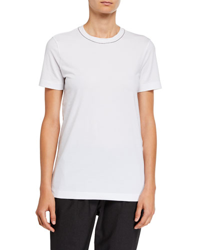 Monili-Beaded Flat Cotton Jersey Short Sleeve T-Shirt