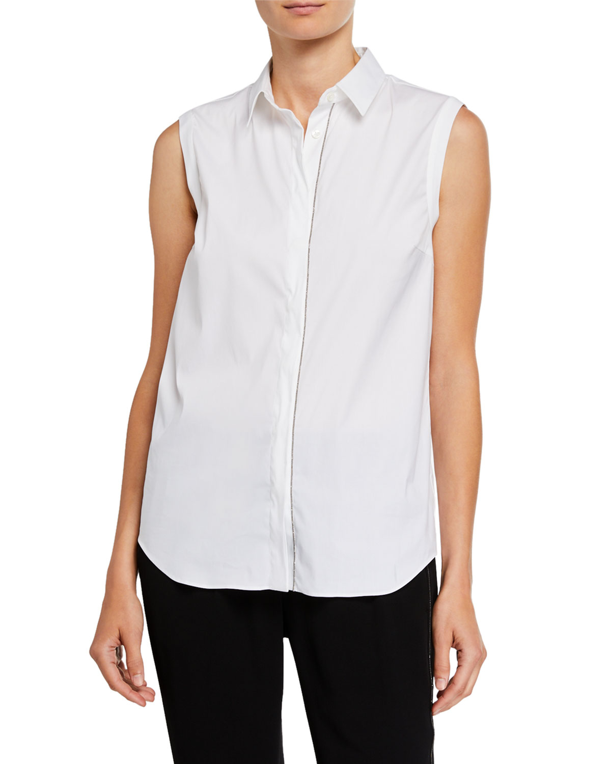 Brunello Cucinelli T-shirts MONILI-BEADED SLEEVELESS POPLIN SHIRT
