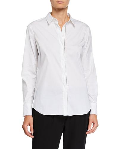 Monili-Beaded Long-Sleeve Poplin Shirt