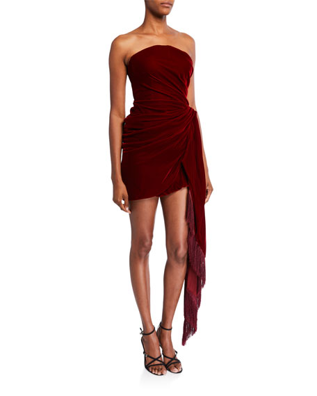 Oscar de la Renta Strapless Velvet Cocktail Dress