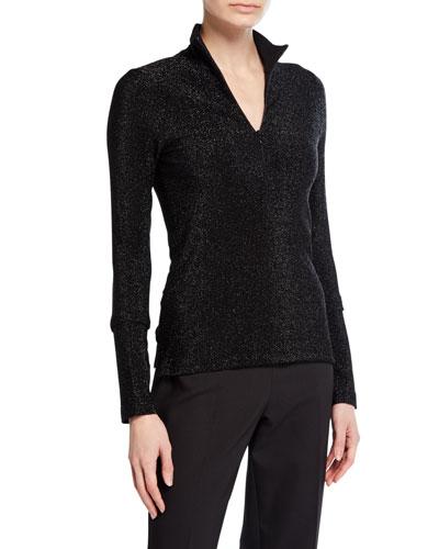 Shimmer Jersey Zip-Front Turtleneck Top
