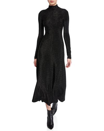 Metallic Zip-Up Turtleneck Long-Sleeve Dress