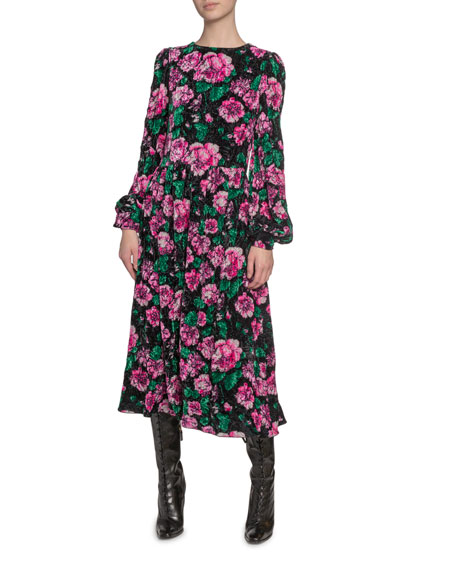 Marc Jacobs (Runway) Floral-Print Velvet Blouson-Sleeve Dress