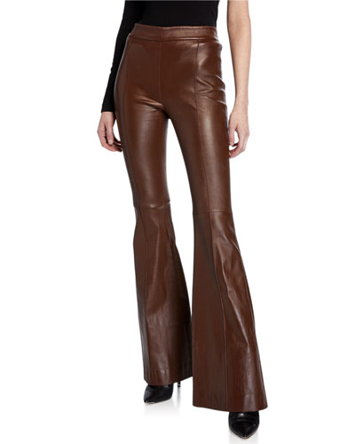 Pintucked Leather Pants