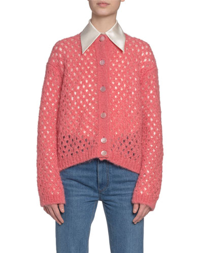 Fishnet-Knit Button-Front Cardigan