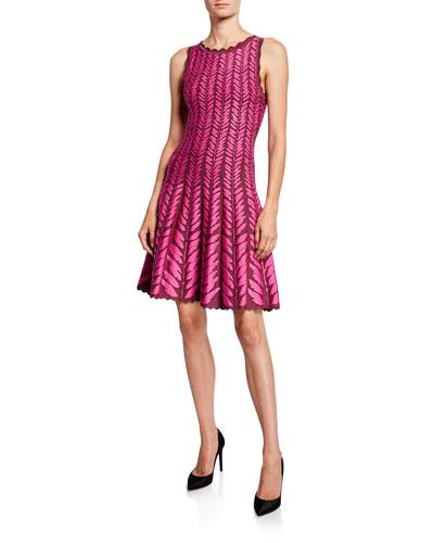 Leaf-Jacquard Knit Dress