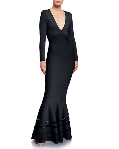 Long Sleeve V-Neck Mermaid Gown