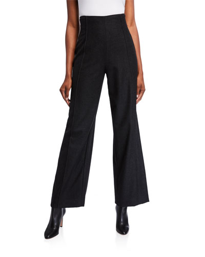 High Rise Stretch Wool Pants
