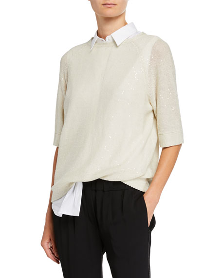 Brunello Cucinelli Sequined Raglan-Sleeve Linen-Silk Blouse