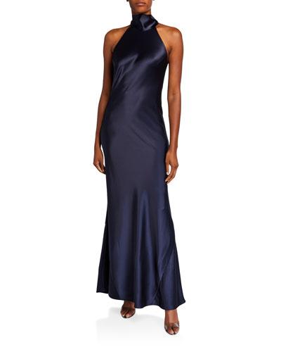 Sienna Satin Tie-Neck Gown