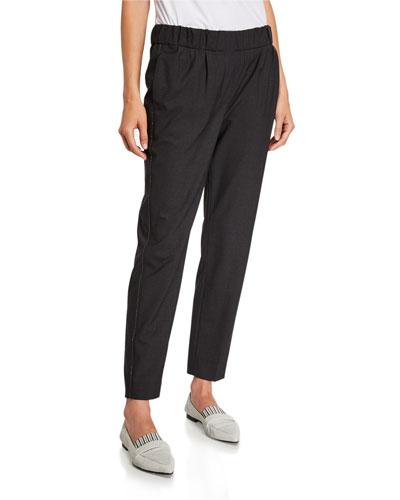 Monili-Beaded Straight-Leg Wool Pants