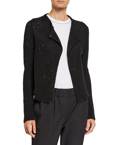 Sequined English-Ribbed Cardigan