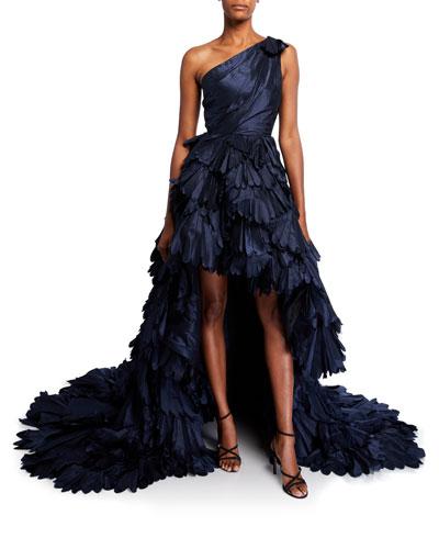 Gemma One-Shoulder Petal Silk Gown