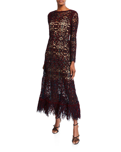 Open-Lace Long-Sleeve Dress with Slip