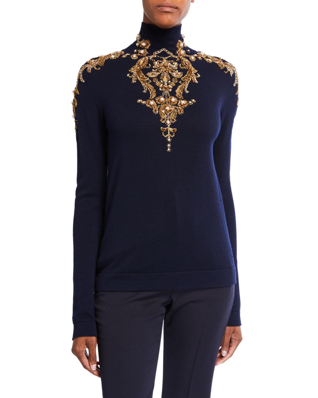 Oscar De La Renta Sweaters Embellished Wool Turtleneck Sweater