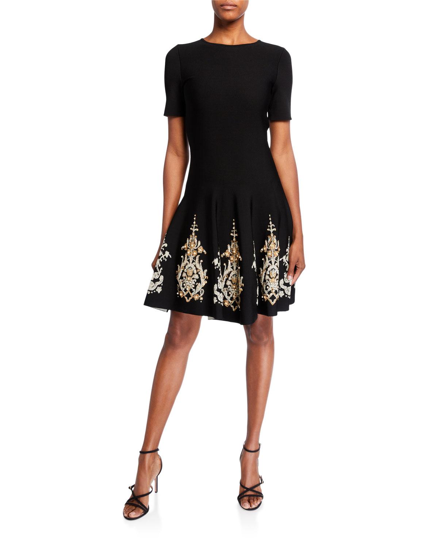 Oscar De La Renta Dresses METALLIC-EMBROIDERED KNIT DAY DRESS