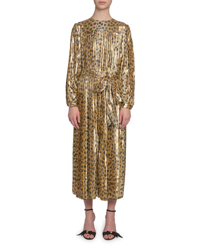 Animal-Print Lame Midi Dress