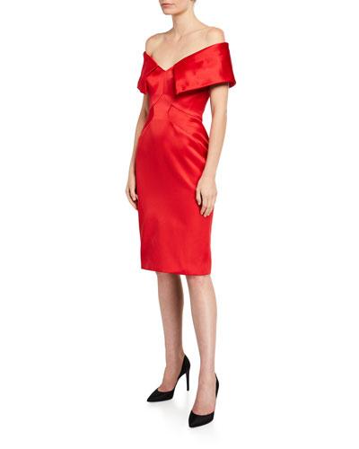 Satin Off-the-Shoulder Sheath Dress