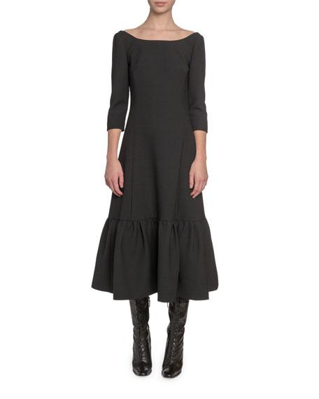 Marc Jacobs (Runway) 3/4-Sleeve Boat-Neck Twill Dress