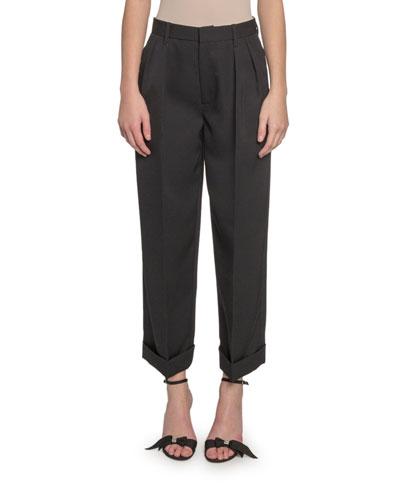 Folded-Cuff Pleated Pants