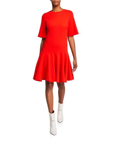 Short-Sleeve Flounce Day Dress