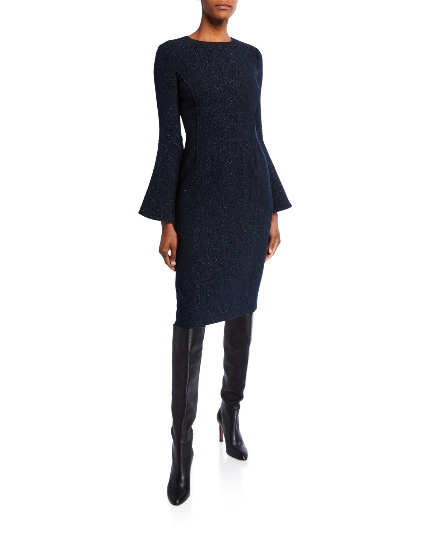 Oscar De La Renta Dresses SHIMMERED CREPE BELL-SLEEVE DAY DRESS