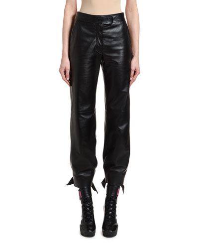 53bdbd3e47 Quick Look. Off-White · Leather High-Waist Bow Pants